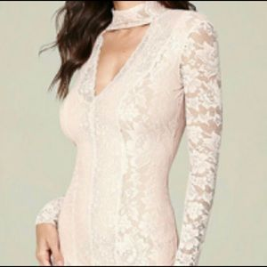 Bebe white lace choker dress